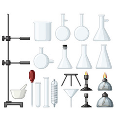 different types of science containers and burners vector image