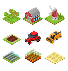 farm color icons set isometric view vector image