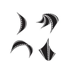 Filmstrip reel logo icon template vector