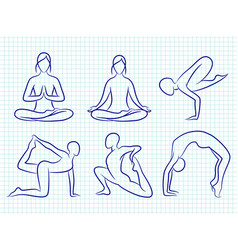 Fitness yoga pilates hand drawn silhouettes vector