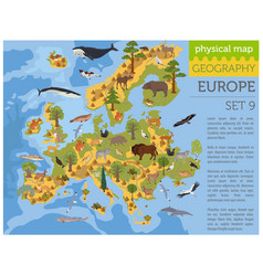 Flat european flora and fauna map constructor vector