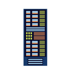 flat server rack at data center vector image