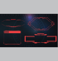futuristic screens hud gui ui and titles warning vector image