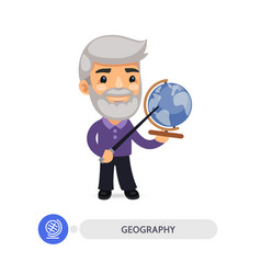 geography teacher points to globe vector image