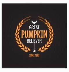 halloween pumpkin believer logo concept background vector image