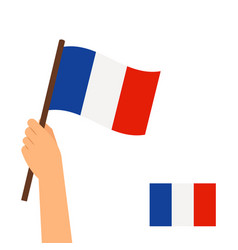 Hand holding flag france vector
