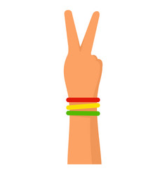 hand peace sign icon flat style vector image