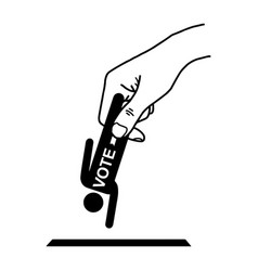 Hand put man sign with word vote into the box vector