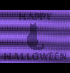 happy halloween knitted of black cat silhouette vector image