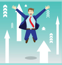 happy jumping businessman among upward arrows vector image