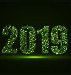 happy new year 2019 text design with glowing vector image