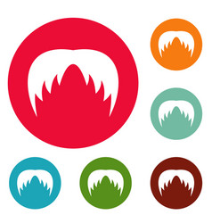 head hair icons circle set vector image