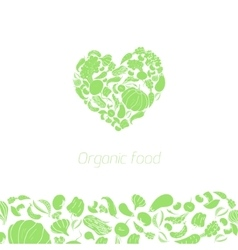 Heart organic vegetables food vector