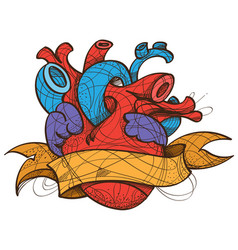 heart tattoo sketch hand drawing style vector image