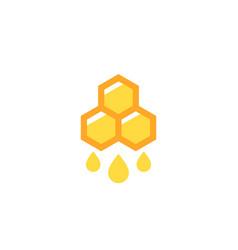 Honey logo with honeycomb vector