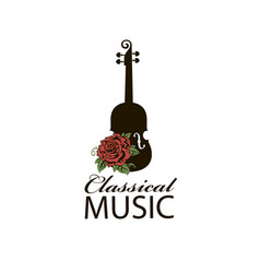 Icon of violin and rose vector