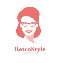 Icon smiling woman with glasses in retro style vector