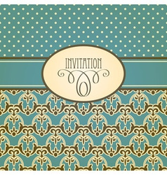 invitation card with seamless floral wallpaper vector image