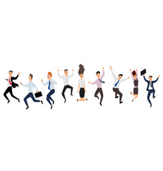 jumping business people group business people vector image