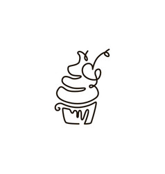 line icon cupcake one line drawing vector image