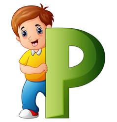 little boy holding letters p vector image