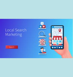 local search marketing banner hand holds vector image