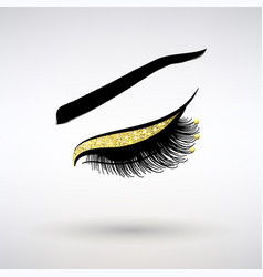 Long lashes with gold decor vector