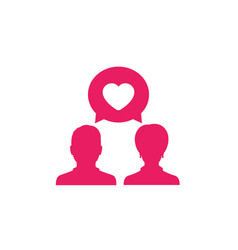 Love chat icon on white vector