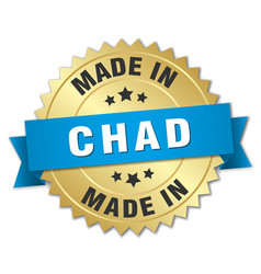 Made in chad gold badge with blue ribbon vector