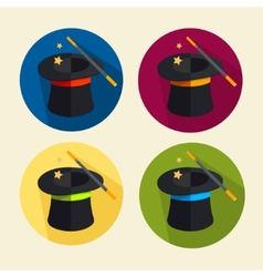 Magic hat icon set vector