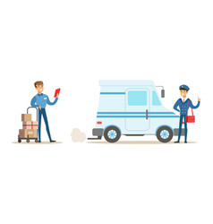 male courier characters set delivery men in vector image