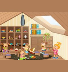 Many little kids in kindergarten room scene vector
