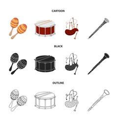 Maracas drum scottish bagpipes clarinet vector