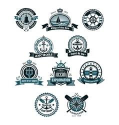 Marine icons and badges with nautical symbols vector