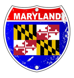 Maryland flag icons as interstate sign vector
