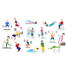 men and women are engaged weightlifting in the gym vector image