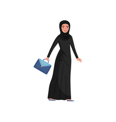 muslim businesswoman with blue briefcase in hand vector image