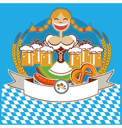 Oktoberfest symbol label with girl and beer color vector