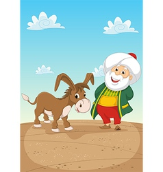 Old Man and Donkey vector