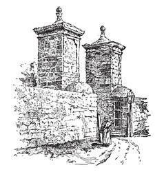 old spanish gate st augustine vintage engraving vector image