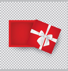 open gift box with a white bow isolated on a vector image