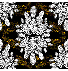 Pattern background sketch with gold antique vector