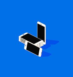 phones mockup on blue background vector image