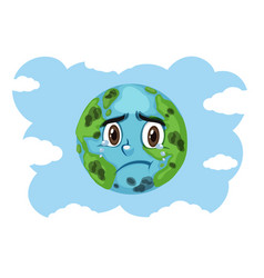 Pollution on earth with earth crying vector