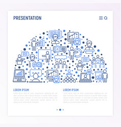 presentation concept in half circle vector image