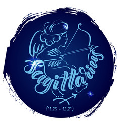 Round zodiac sign sagittarius vector