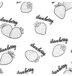 seamless pattern black and white strawberries vector image