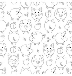 Seamless pattern with contour cartoon pigs apples vector