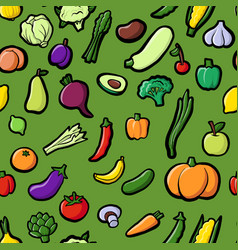 Seamless pattern with drawing vegetables vector
