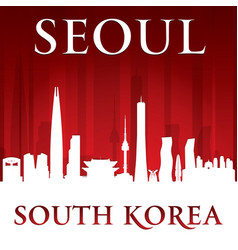 Seoul south korea city skyline silhouette red vector
